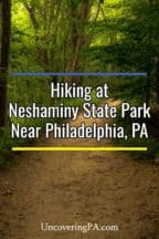 Hiking at Neshaminy State Park near Philadelphia, Pennsylvania