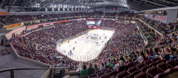 View of the rink in the Giant Center at a Hershey Bears' game.