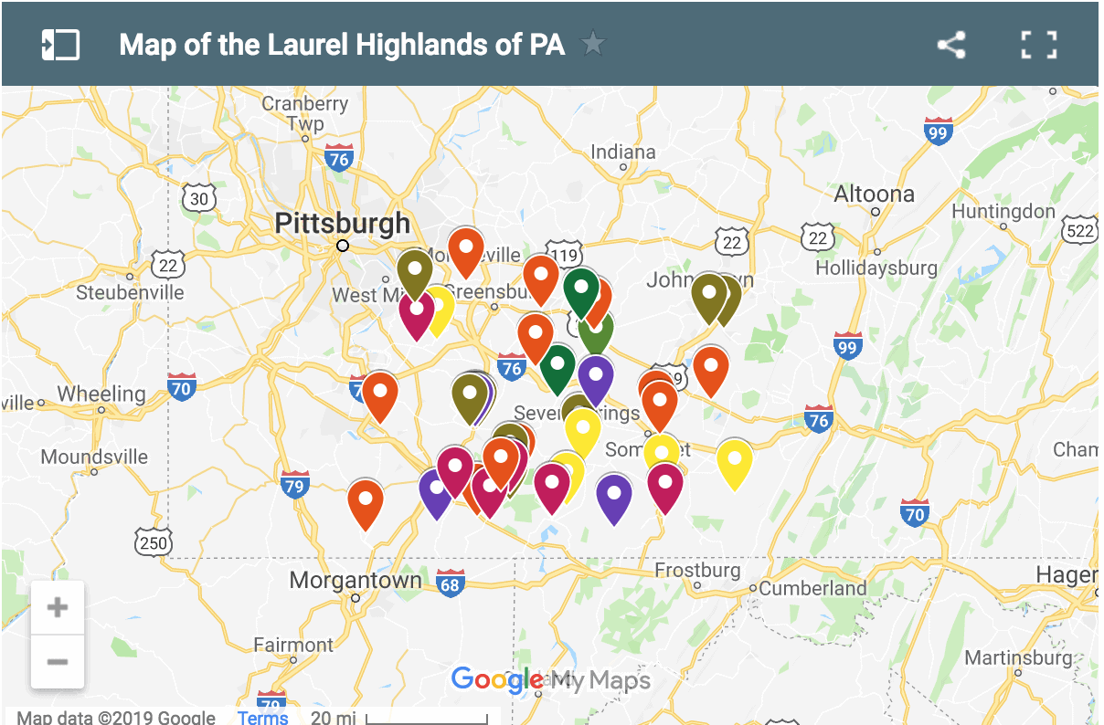 Map of the Laurel Highlands
