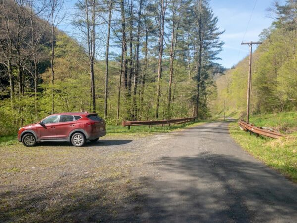 Parking area for Chimney Hollow Falls in the PA Grand Canyon