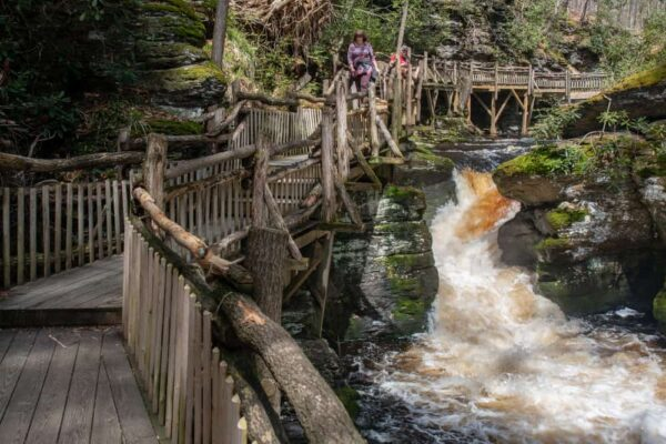 Hiking at Bushkill Falls in Pennsylvania