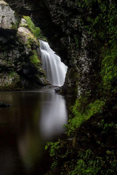 Marshall's Falls hidden behind rock walls
