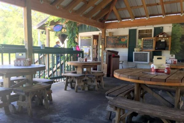 Outdoor patio at the Ohiopyle House Cafe in Ohiopyle, Pennsylvania