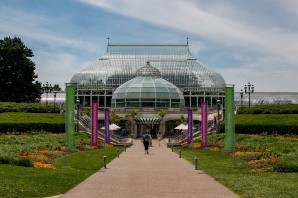 The entrance to the beautiful Phipps Conservatory and Botanical Gardens in Pittsburgh, PA.