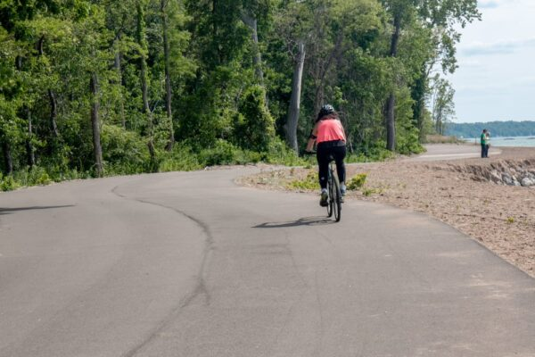 Biking in Presque Isle State Park in northwestern Pennsylvania