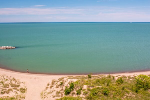There are many miles of beaches at Presque Isle State Park in Erie, PA