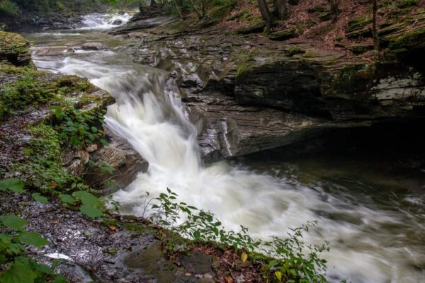 The waterfalls on Rock Run in the McIntyre Wild Area of Lycoming County, Pennsylvania