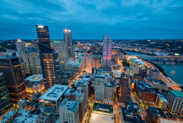 Downtown Pittsburgh, PA from the roof of PPG Place