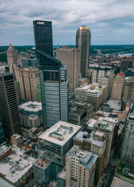 Downtown Pittsburgh from the roof of PPG Place.