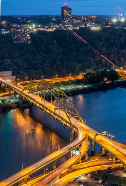 Fort Pitt Bridge in Pittsburgh from Above