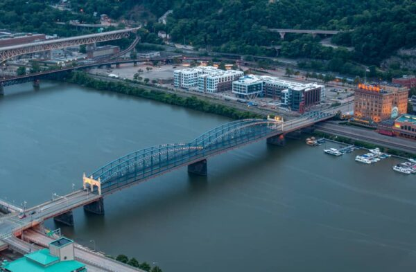 The Smithfield Street Bridge and Station Square from above in Pittsburgh, PA