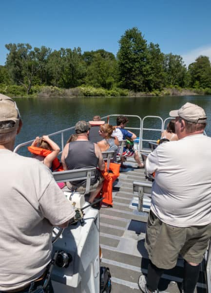 The pontoon boat on which the free boat tours at Presque Isle State Park are offered