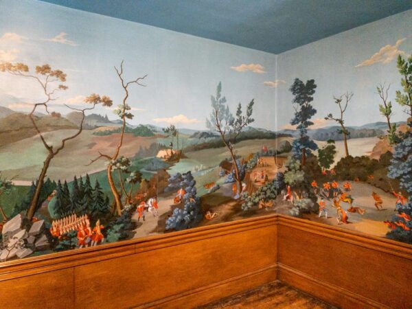 Mural inside the Overholt home at West Overton Village in PA's Laurel Highlands