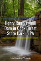 Henry Run Sawmill Dam Falls in Cook Forest State Park in Pennsylvania