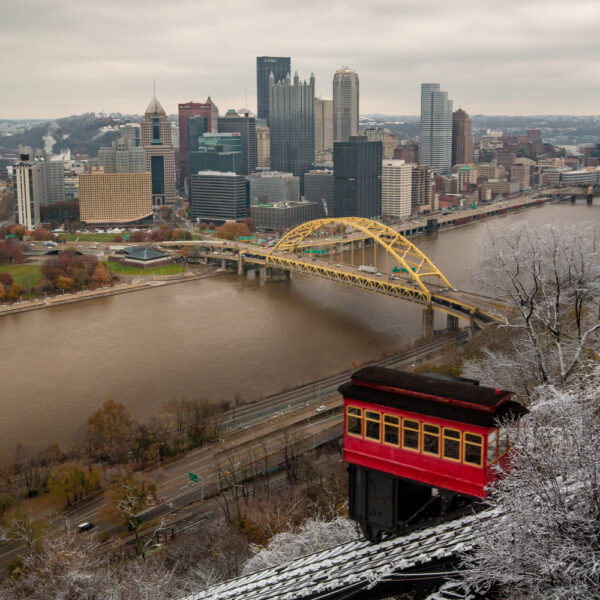 Snow on Mount Washington with the Duquesne Incline in the foreground