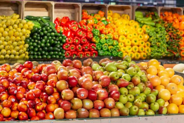 Produce stand at Reading Terminal Market in Philadelphia, PA