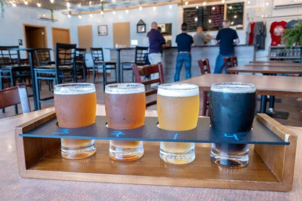 A flight of beers at Nostravia Brewing in Erie, Pennsylvania