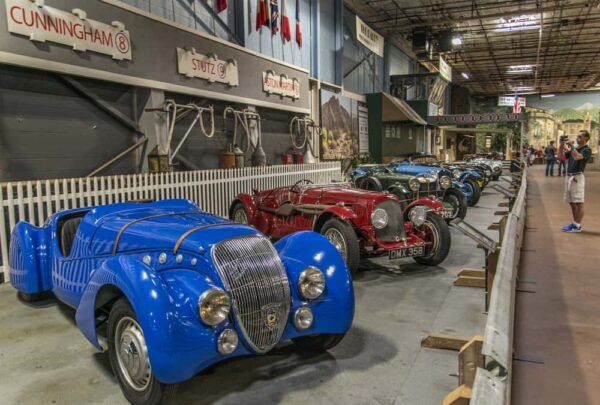 Cars on display at the Simeone Museum in Philly.