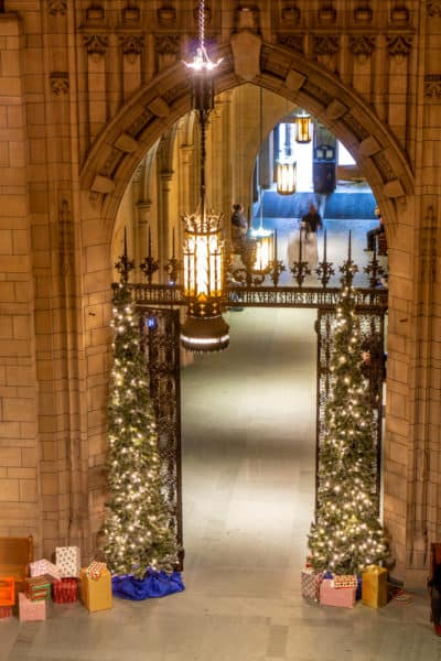 Christmas decorations in the Cathedral of Learning in Pittsburgh PA
