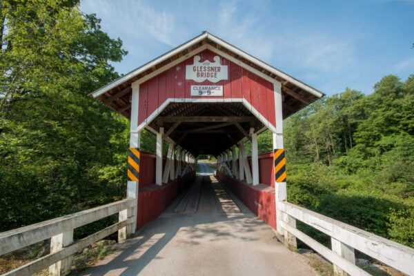 The entrance to Glessner Covered Bridge in Shanksville, PA.