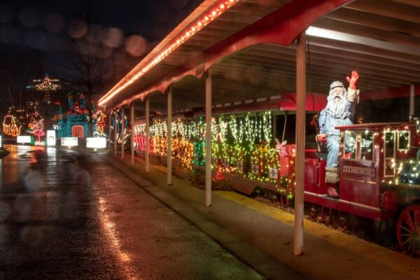Santa train at the Holiday LIghts on the Lake in Blair County PA