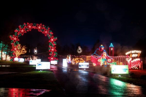 Road through Holiday Lights on the Lake in Lakemont Park