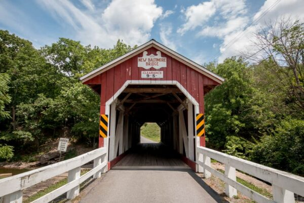 The entrance to New Baltimore Covered Bridge in Somerset County PA