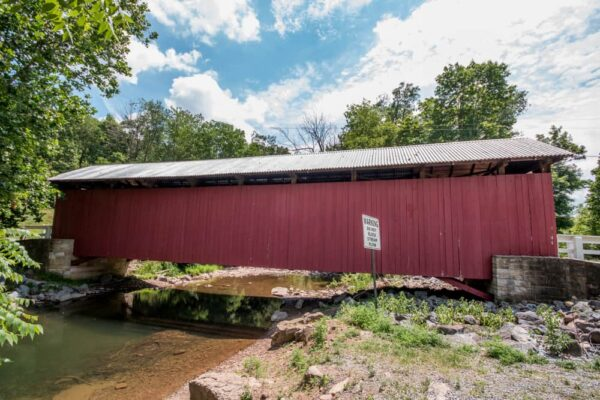 A side view of New Baltimore Covered Bridge in the Laurel Highlands