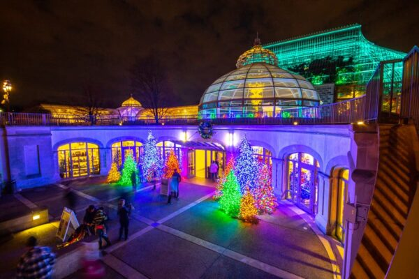 Entrance to Phipps Conservatory at Christmastime