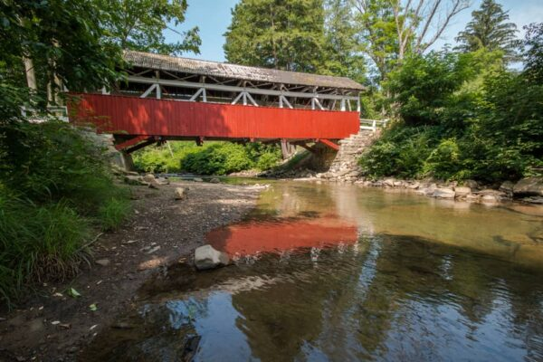 A side view of Shaffer's Covered Bridge in northern Somerset County PA