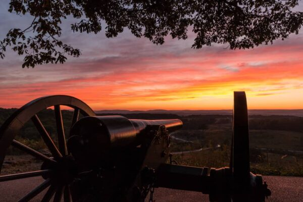 Catching sunset from the top of Little Roundtop in Gettysburg Pennsylvania