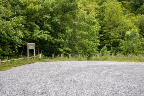 The parking area for Bent Run Falls in Warren County PA
