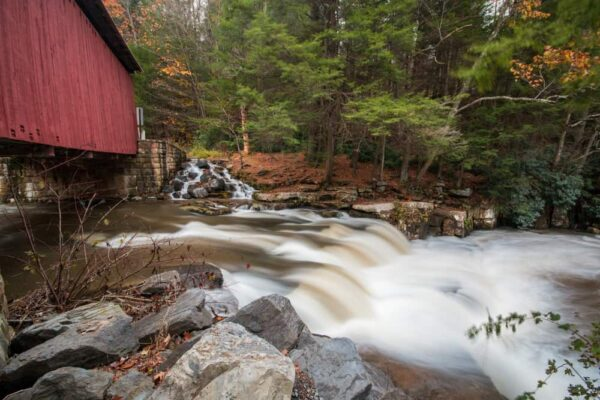 Packsaddle Covered Bridge waterfall in Somerset County PA