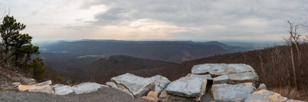 A panoramic look at the view from Big Mountain Overlook in Buchanan State Forest PA