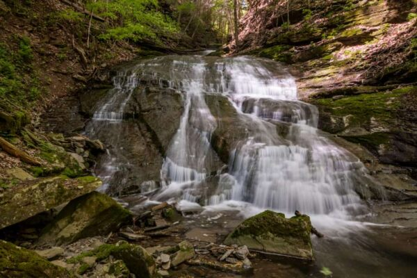 The lowest tier of Pine Island Run Falls in the Pennsylvania Wilds