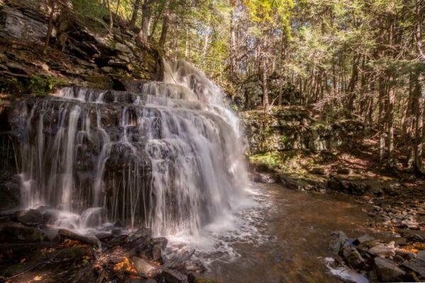 A sideview of Savantine Falls near Milford Pennsylvania