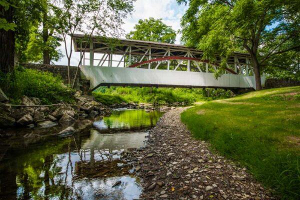 Dr. Knisley Covered Bridge crosses Dunning Creek near Pleasantville, PA.