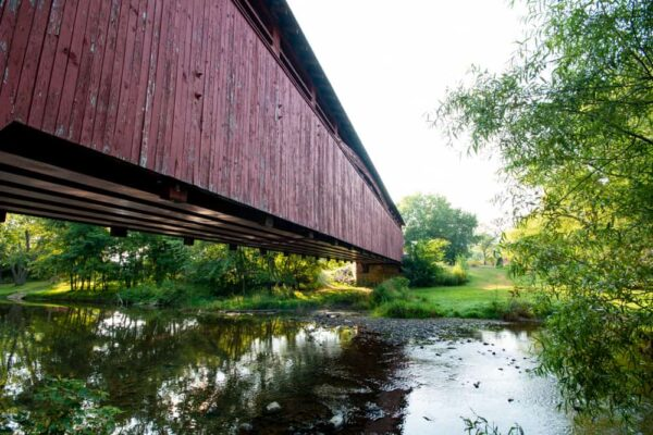 Side view of Heirline Covered Bridge in Bedford County Pennsylvania
