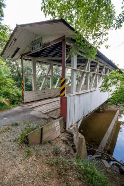 A vertical photo of Diehls Covered Bridge in Bedford County PA