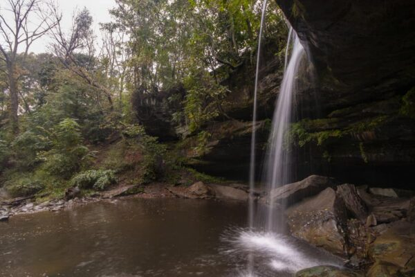 Behind the veil at Buttermilk Falls in Beaver County Pennsylvania