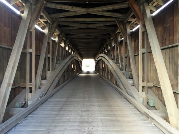 A view of the interior of Hunsecker's Mill Covered Bridge in Lancaster County
