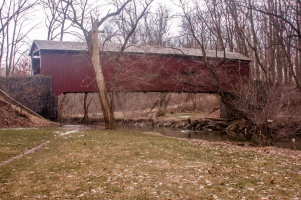 A side view of Kurtz's Mill Covered Bridge south of Lancaster Pennsylvania