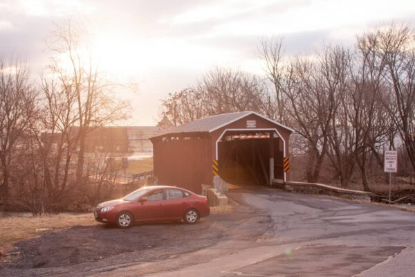 Landis Mill Covered Bridge at Sunset