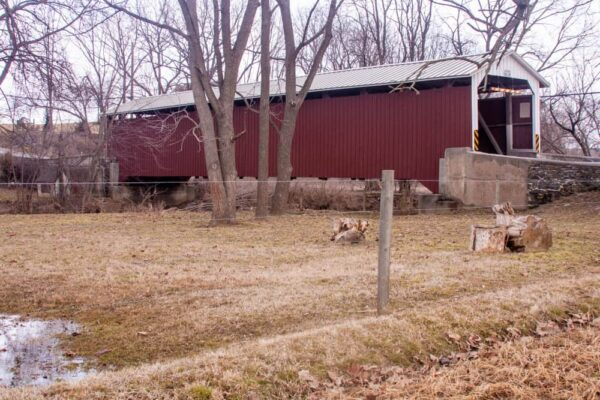A side view of Leaman's Place Covered Bridge near Paradise PA