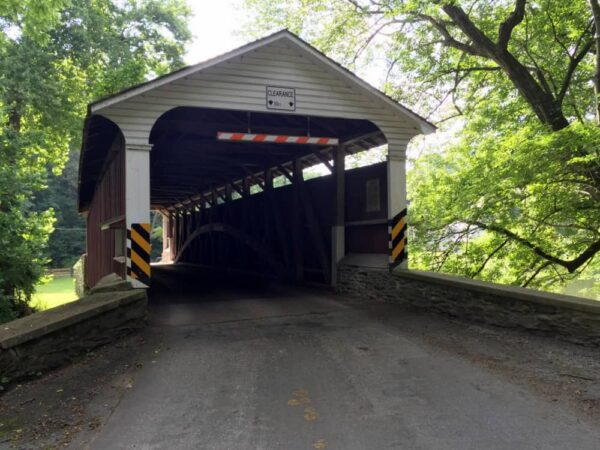 The front portal of Mercer's Mill Covered Bridge in Lancaster County PA
