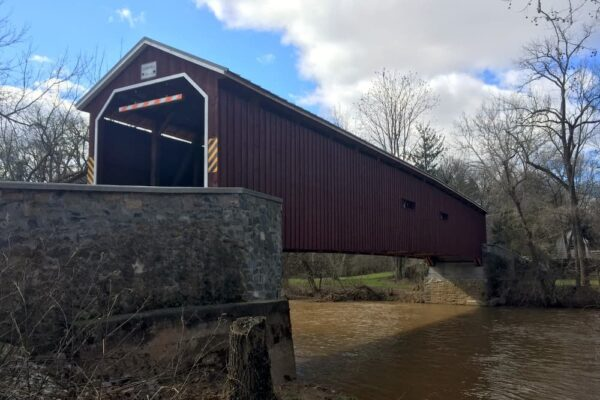 A sideview of Pinetown Covered Bridge in Central PA