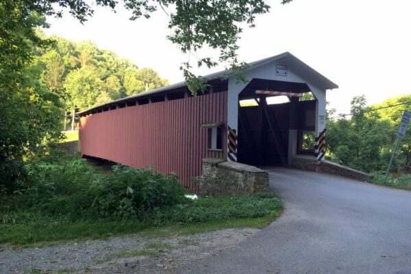 White Rock Forge Covered Bridge in the countryside of Lancaster County PA