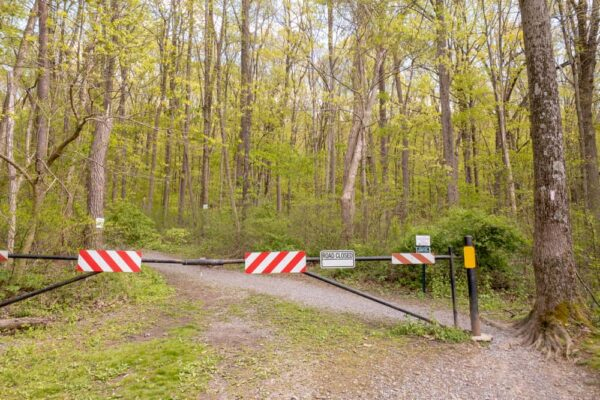 Gate for the trailhead at Boyd Big Tree Preserve Conservation Area in Harrisburg PA