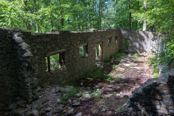 The interior of the ruins of the Colonial Springs Bottling Plant in PA