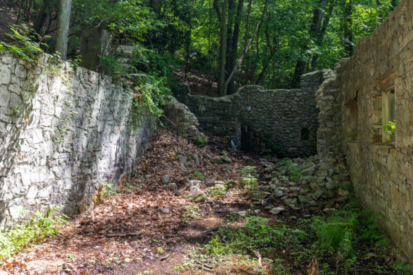 Inside the ruins of the Colonial Springs Bottling Plant in Valley Forge PA
